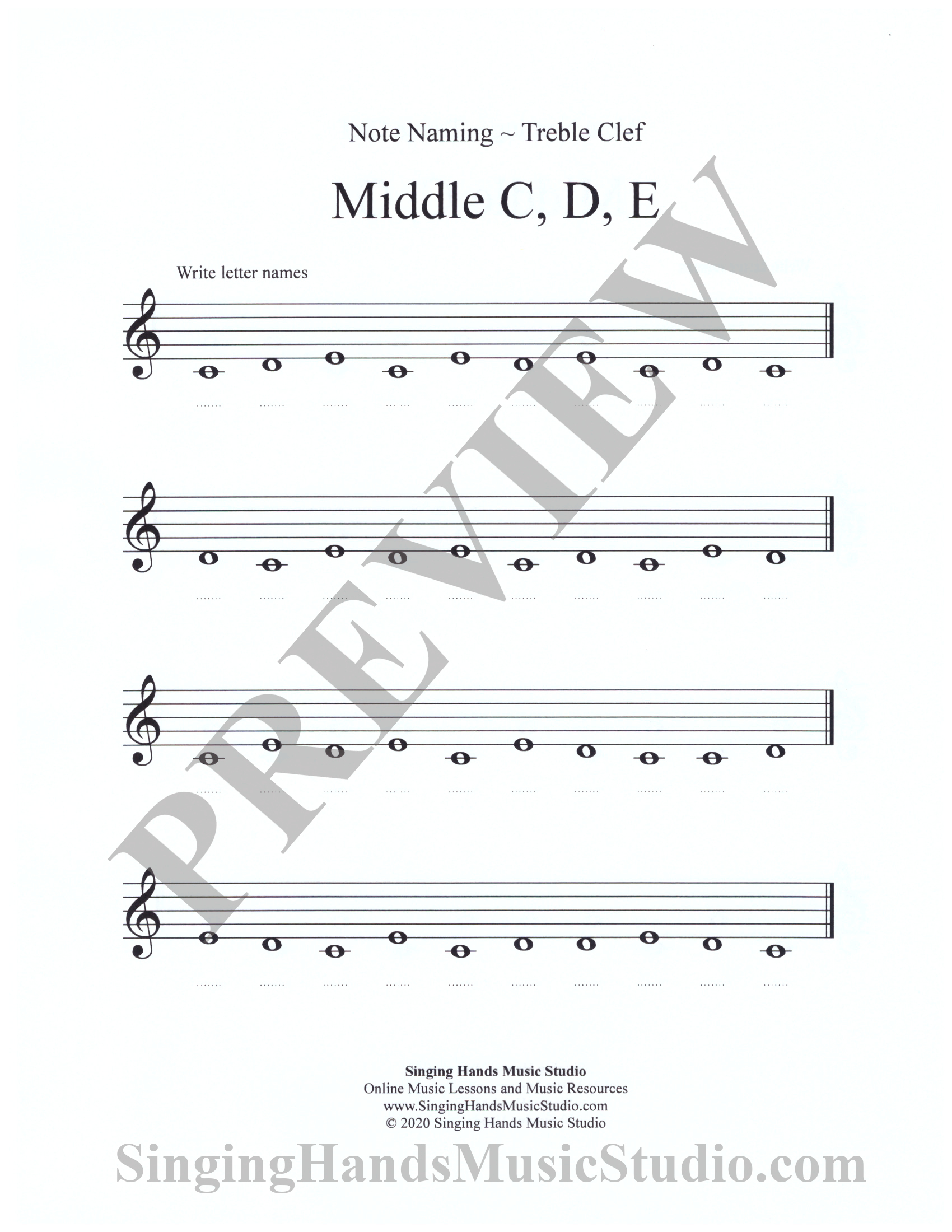 Note Naming Treble Clef: Middle C – G – Singing Hands Music Studio Pertaining To Treble Clef Notes Worksheet