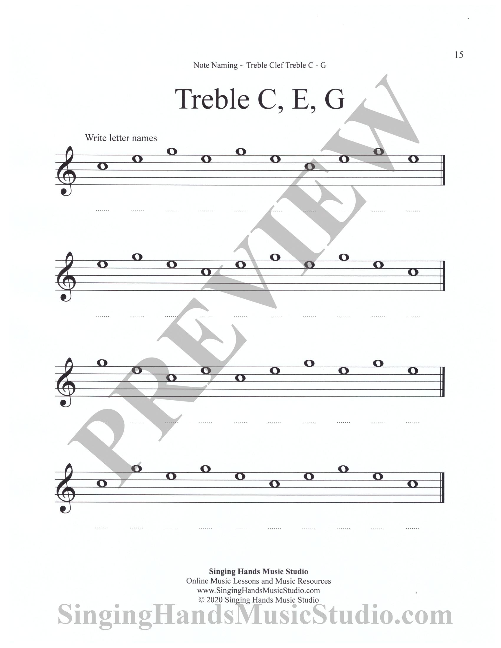 Note Naming Worksheets: Treble C – G – Singing Hands Music Studio Pertaining To Treble Clef Notes Worksheet